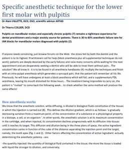 Specific anesthetic technique for the lower first molar with pulpitis
